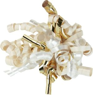 Gold/Cream/White Curly Bow
