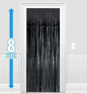 Black Fringe Doorway Curtain
