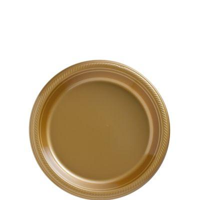 Gold Plastic Dessert Plates 20ct