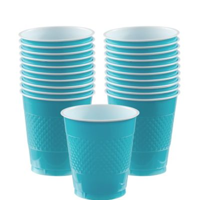 Caribbean Blue Plastic Cups 20ct