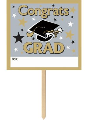 Personalized Golden Grad Graduation Yard Sign