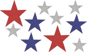 Glitter Patriotic Red, Silver & Blue Star Cutouts 10ct