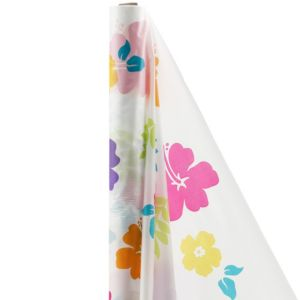 Hibiscus White Plastic Table Cover Roll