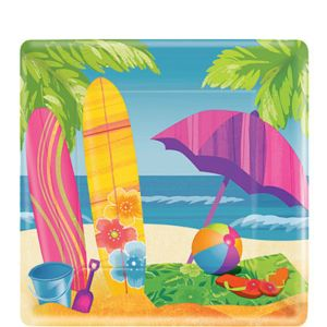 Surf's Up Square Dessert Plates 8ct