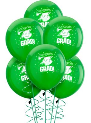 Green Graduation Balloons 15ct