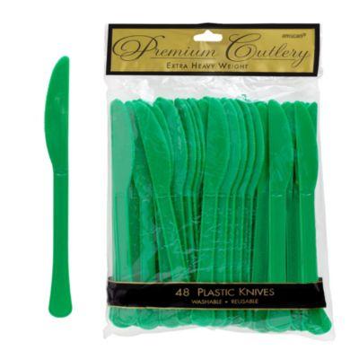 Festive Green Premium Plastic Knives 48ct