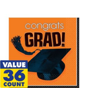 Congrats Grad Orange Graduation Lunch Napkins 36ct