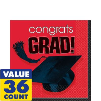 Congrats Grad Red Graduation Lunch Napkins 36ct
