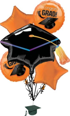 Orange Graduation Balloon Bouquet 6pc