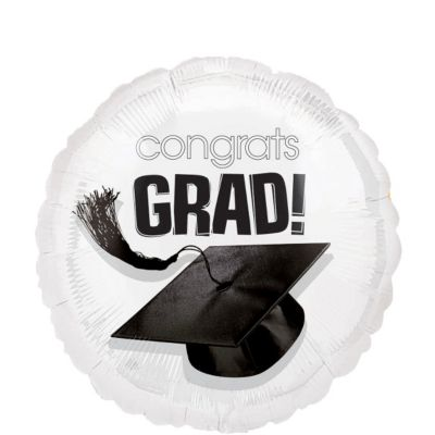 White Graduation Balloon - Congrats Grad
