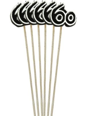 Black Number 60 Birthday Toothpick Candles 6ct