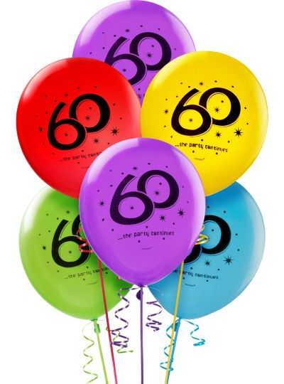 60th Birthday Balloons 15ct - The Party Continues