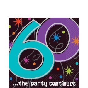 The Party Continues 60th Birthday Lunch Napkins 16ct