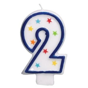 Glitter Blue Outline Number 2 Candle