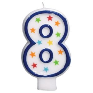Glitter Blue Outline Number 8 Birthday Candle