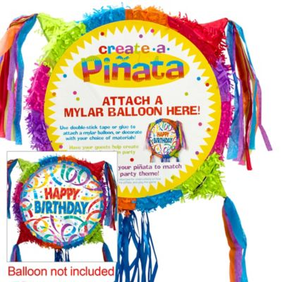 Pull String Add-a-Balloon Multicolor Pinata