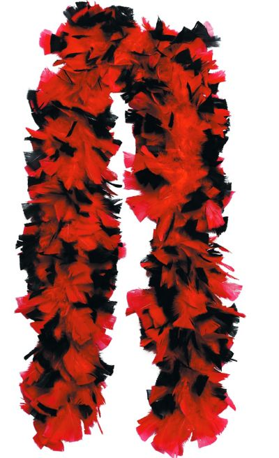 Red and Black Feather Boa Deluxe 72in
