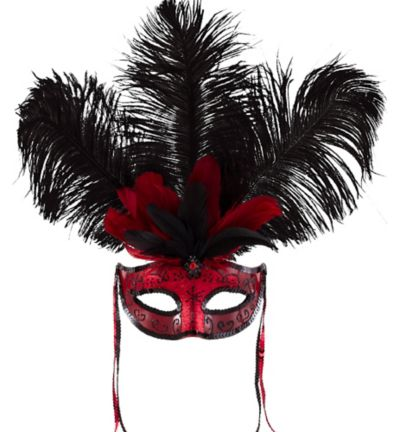 Can-Can Feather Mardi Gras Mask