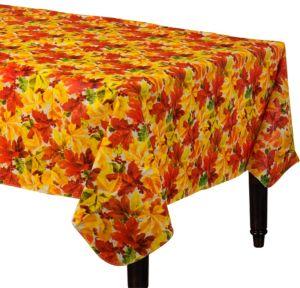 Elegant Leaves Flannel-Backed Vinyl Table Cover