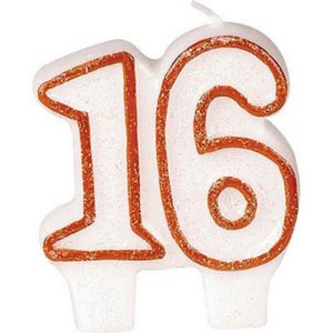Red Outline Glitter Number 16 Birthday Candle