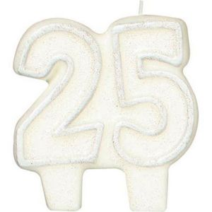 Glitter Silver Outline Number 25 Birthday Candle