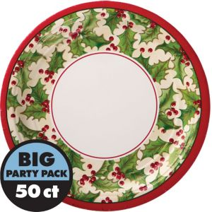 Winter Holly Lunch Plates 50ct