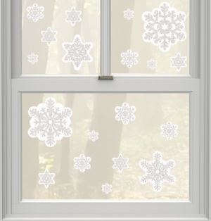 Glitter Snowflake Cling Decals 19ct
