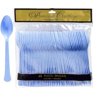 Pastel Blue Premium Plastic Spoons 48ct