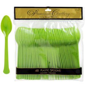 Kiwi Green Premium Plastic Spoons 48ct