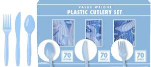 Big Party Pack Pastel Blue Plastic Cutlery Set 210ct