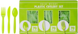 Big Party Pack Kiwi Green Plastic Cutlery Set 210ct
