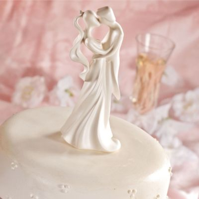 First Kiss Wedding Cake Topper 6 3/4in