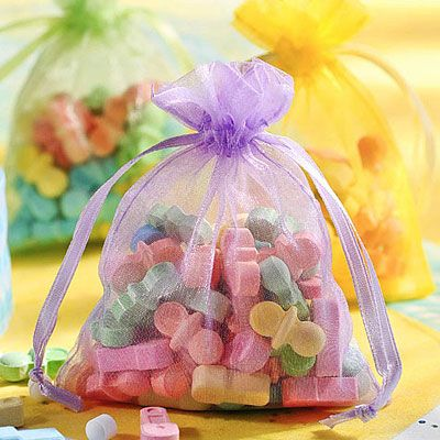 Multicolor Pastel Organza Baby Shower Favor Bags 12ct