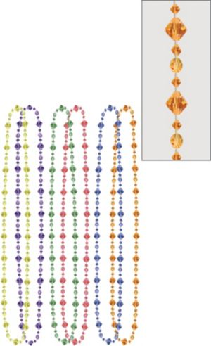 Multicolor Facet Bead Necklaces 6ct