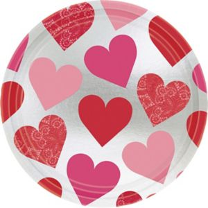 Metallic Key to Your Heart Valentine's Day Lunch Plates 8ct