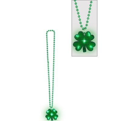 Light-Up St. Patrick's Day Shamrock Pendant Bead Necklace