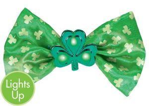 Light-Up St. Patrick's Day Shamrock Bow Tie