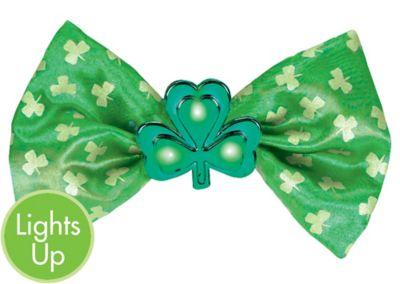 Light-Up St. Patrick's Day Shamrock Bow Tie