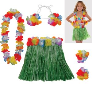 Child Hula Skirt Kit 5pc