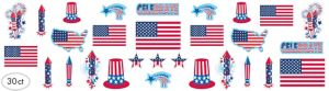 Patriotic American Flag Cutouts 30ct