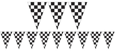 Outdoor Black & White Checkered Flag Pennant Banner 12ft