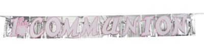 Glitter Fringe Pink Radiant Cross Communion Banner