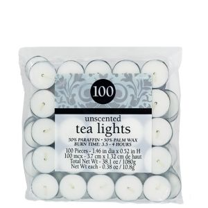Unscented White Tealight Candles 100ct