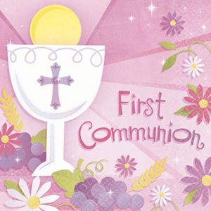 Girl's First Communion Beverage Napkins 36ct