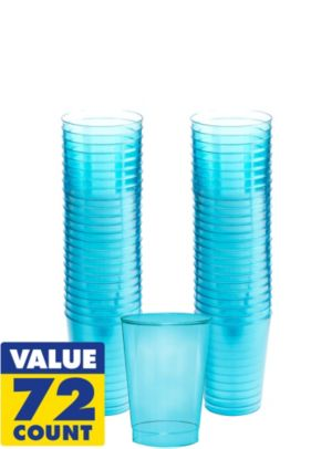 Transparent Blue Plastic Tumblers 72ct