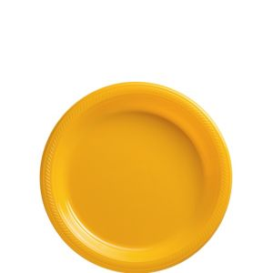 Big Party Pack Sunshine Yellow Plastic Dessert Plates 50ct