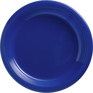 Royal Blue Plastic Dinner Plates 50ct