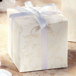 Embossed Cube Wedding Favor Boxes 24ct
