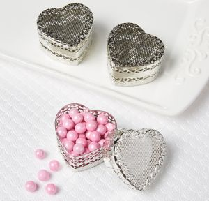 Silver Heart Wedding Favor Boxes 6ct