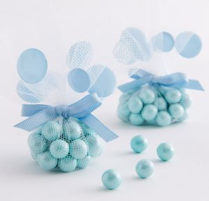 Blue Dot Tulle Baby Shower Favor Circles 12ct